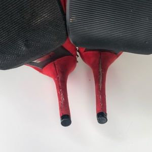 Speed Limit 98 Shoes - Spiked red platform heels